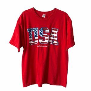 USA Red Graphic Short Sleeve Tee Large